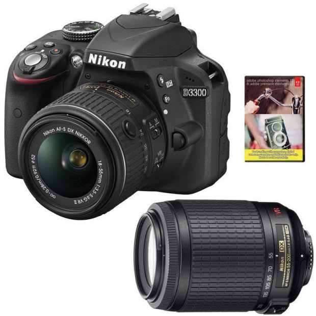 Refurbished Nikon D3300 w/ 18-55 + 55-200 + Adobe PSE12 for $439 !