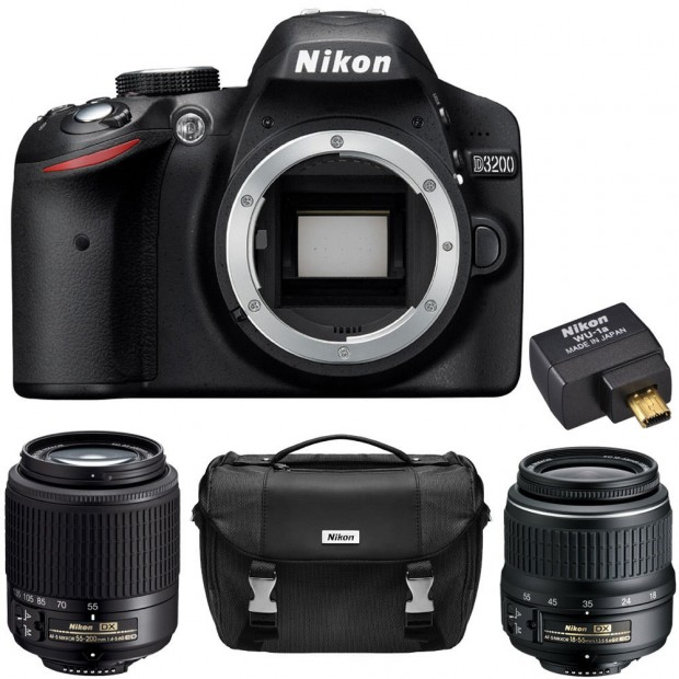 Hot Deal – Refurbished Nikon D3200 w/ 18-55 & 55-200 Lenses, WU-1a Adapter, Case for $299 !