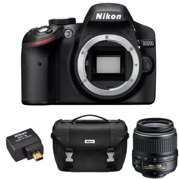 Hot Deal – Refurbished Nikon D3200 w/ 18-55 Lens, WU-1a Adapter, Case for $269 !