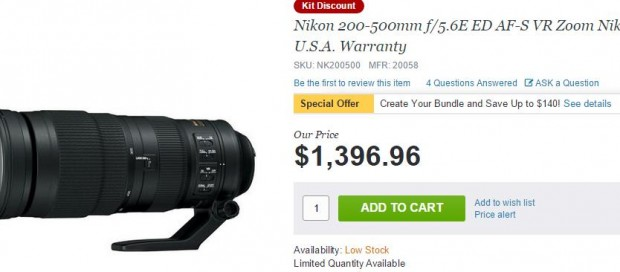 Nikon 200-500mm f/5.6E ED VR Lens now In Stock at Adorama !
