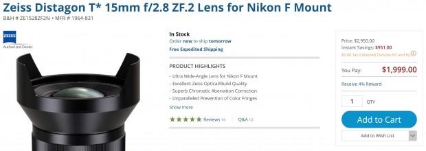 Up to $900 Off on Zeiss 15mm, 18mm and 135mm Lenses at B&H Photo !