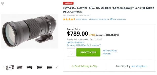 Hot Deal – Sigma 150-600mm f/5-6.3 DG OS HSM Contemporary Lens for $789 at Adorama !
