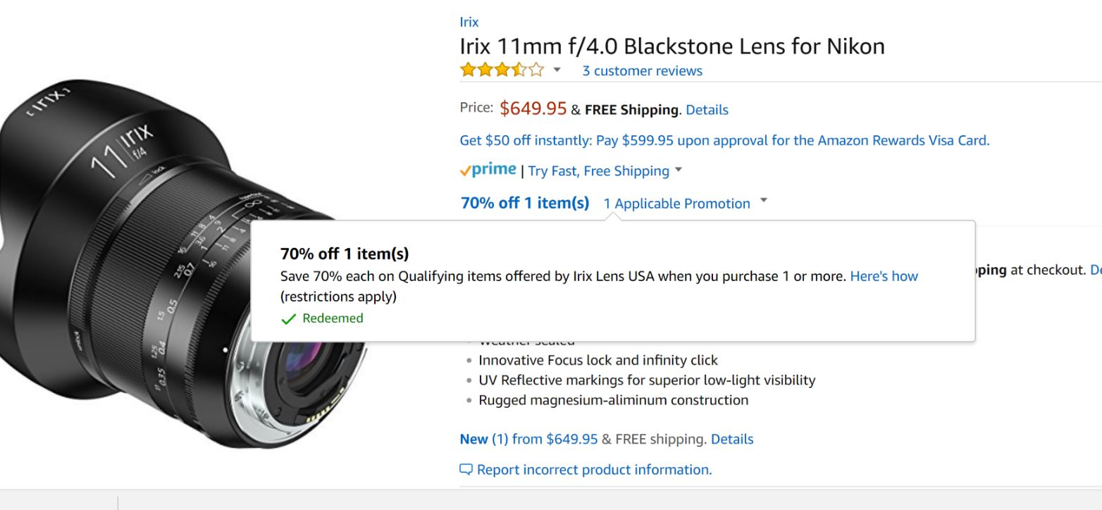 Super Hot – Save 70% Off on Irix 15mm f/2.4 & 11mm f/4 Lenses at Amazon !