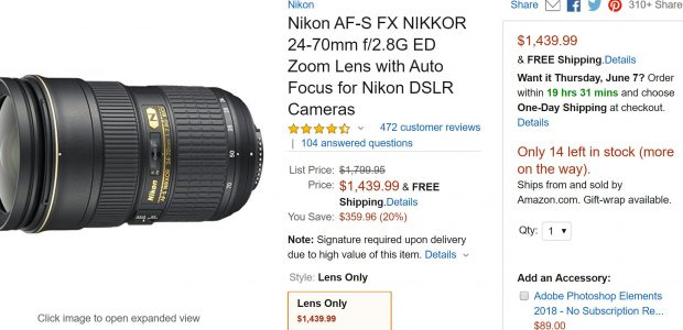 Hot Deal – AF-S NIKKOR 24-70mm f/2.8G ED Lens for $1,439 at Amazon !