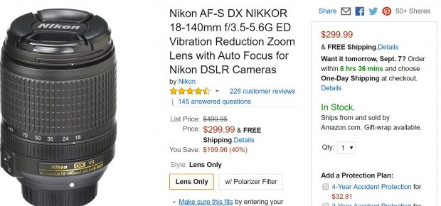 Hot Deal – AF-S DX NIKKOR 18-140mm f/3.5-5.6G ED VR Lens for $299 at Amazon !