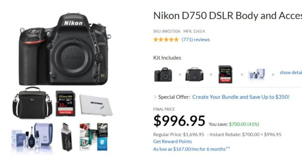 Super Hot – Nikon D750 Body now $996.95 !