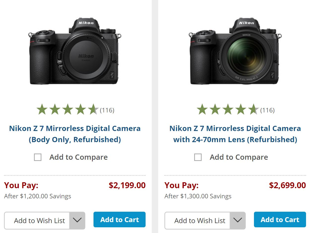 Hot – Refurbished Nikon Z7 Body for $2,199, Z7 w/ 24-70mm Lens Kit for $2,699 !
