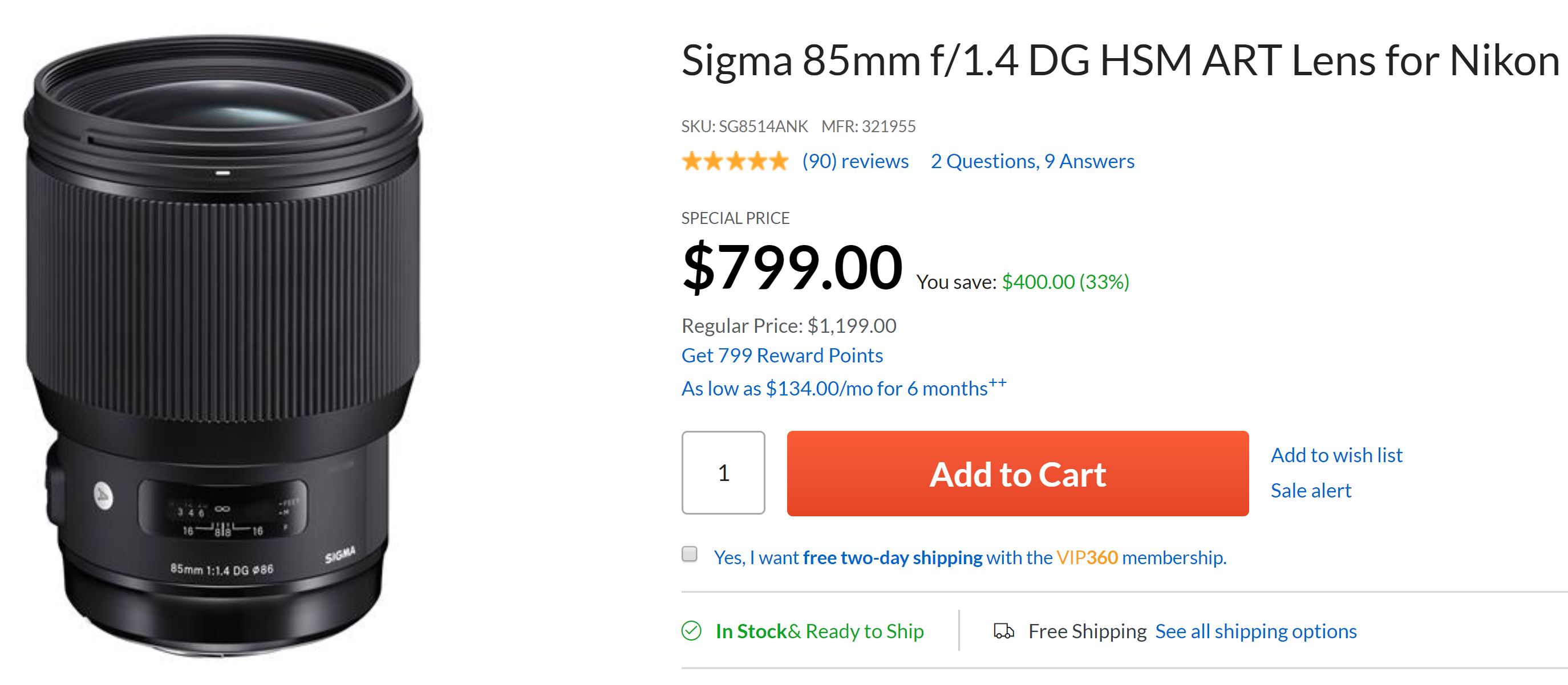 Super Hot – Sigma 85mm f/1.4 Art for $799, 150-600mm f/5-6.3 C for $649 at Adorama !